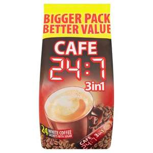 Cafe 24:7 3in1 White Coffee Sachet with Sugar (24 cups of coffee x 16g = 384g) Only £1.50 @ Iceland