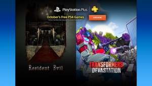 PlayStation Plus October (Resident Evil, Transformers: Devastation, Mad Riders, From Dust, Code: Realize ~Guardian of Rebirth~, Actual Sunlight)