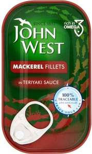 John West Mackerel Fillets in Teriyaki Sauce (125g) was £1.35 now 70p (Rollback Deal) @ Asda