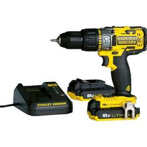 Homebase - BACK IN STOCK FOR REAL - Stanley Fatmax Cordless Hammer Drill with 2 x Batteries- 18V £70.93