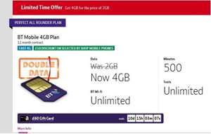 BTmobile Sim only 500mins, 4gb data, unlimited texts £50 quidco + £60 Amazon vouchers - £10 per month BT Cust (£15 non BT Cust)