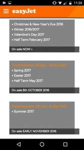 Easyjet seats on sale 6th October for Travel between: 26 Mar – 25 Jun 2017 • Spring 2017 • Easter 2017 • Half Term May 2017
