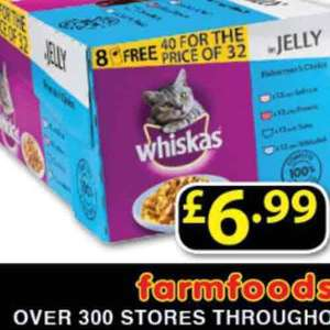 whiskas 40 pouches for £6.99 from Farmfoods.
