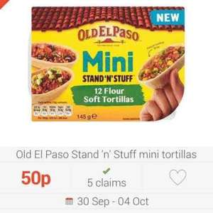Old El Paso Mini Stand n Stuff Flour Tortillas £1.19  - Claim 50p back (poss £2.50 cashback) from CheckoutSmart, plus 50p voucher in store (thanks keeleyc)