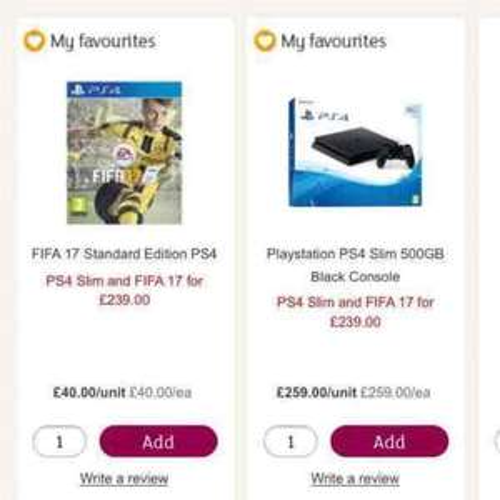ps4 slim 500gb black console + Fifa 17 £239 @ Sainsbury's