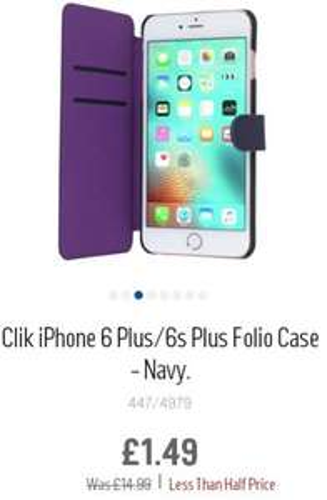 iPhone 6/6s Plus Folio Case £1.49 @ Argos