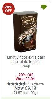 Lindt Lindor extra dark chocolate truffles 200g £3.13 with MyPicks @ Waitrose