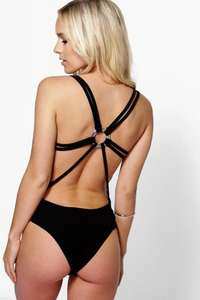 petite nina trim back strappy bodysuit £4 delivered at boohoo