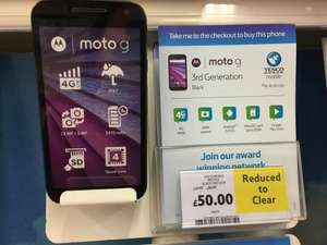 Tesco Mobile Moto G Black 4G Lite (3rd Gen) PAYG Reduced to clear (was £139, then £99) now £50.00 instore