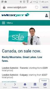 Flights to Canada various airports from Gatwick £209 with westjet.com