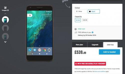 Sim Free Google Pixel XL 32GB (Black) for £539.99 @ Carphone Warehouse
