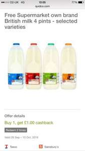 Free Supermarket Own Brand Milk via Clicksnap