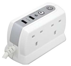 Masterplug SRGDU42P W USB Charging Surge Protected 2 m Extension Lead Power Block with 4 Sockets £7 @ Sainsbury's