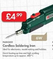 CORDLESS Soldering Iron 6W £4.99 - LIDL (Parkside)
