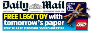 Free Star Wars X-wing Fighter Lego toy in Saturday's Daily Mail Newspaper