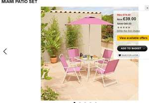 Miami. 6 Piece Patio Set (Pink) Was £79 Now £48.95 Includes home delivery @ George