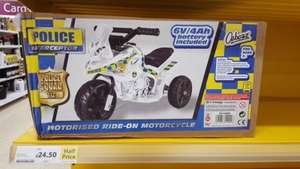 Tesco Half price motorised 6v police bike for kids for £25 online (or £24.50 instore)