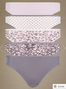 5 Pack No VPL Microfibre Assorted High Leg Knickers @ M&S