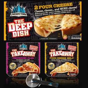 2 Pack Chicago Town The Deep Dish £1, Chicago Town The Takeaway £2.50 Buy 2 and get a free pizza cutter - at Iceland