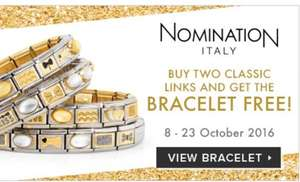Buy 2 charms and get a free nomination bracelet £32 @ John greed