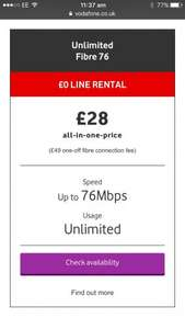 Vodafone fibre broadband 76mbps unlimited £28/month