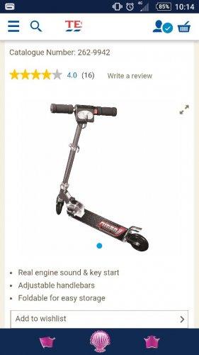 zinc nitro 2 wheel scooter. £9.80 tescos