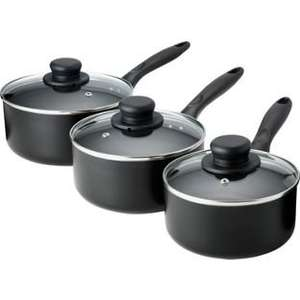 HOME Non-Stick Aluminium 3 Piece Pan Set - Black was £17.99 now £10 C+C @ Argos