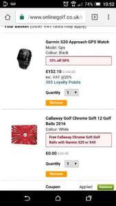 Garmin s20 Approach Golf WAtch with free 12 pack of Chrome Soft balls (worth 29.99)for £152.10 with code @ onlinegolf