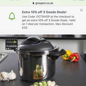 Tower 6L one touch pressure cooker £39.98 @ Groupon