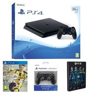 Sony PlayStation 4 500GB (D Chassis) + FIFA 17 + DualShock 4 + Steelbook £259.99 @ Amazon