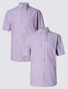 2 Pack Easy to Iron Short Sleeve Hairline Striped Shirts, £5.99 at M&S with free C&C