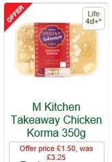 Indian Takeaway Main Meals (350g Inc. NO rice) - MORRISONS Kitchen - £1.50 (Was £3.25)