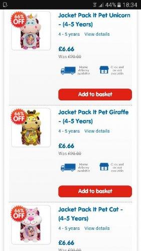 jacket pack it pet £6.66 @ The ToyShop