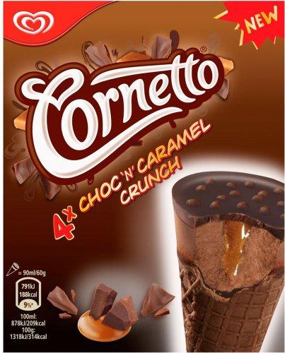Cornetto Chocolate & Caramel Crunch Ice Cream Cones (4 x 90ml) was £2.99 now £1.50 @ Sainsbury's