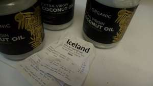 coconut oil 500ml (organic cold pressed) £2 @ Iceland
