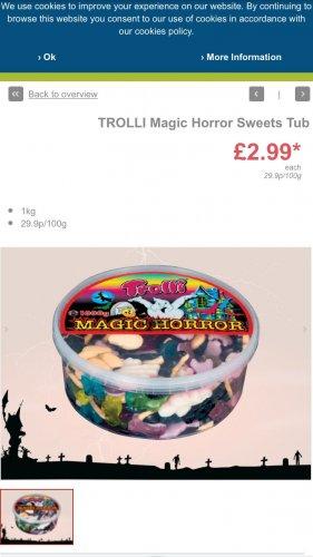 Trolli magic horror tubs 1000g £2.99 Lidl