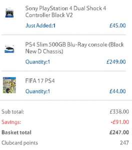Playstation 4 500gb Slim + V2 Controller + FIFA17 £247 @ Tesco