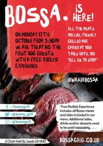 Free All You Can Eat Brazilian Rodizio at Bossa LEEDS for 1st 100 people from 5:30PM Monday 17th