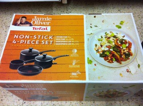 Jamie Oliver Tefal Non Stick 4 Piece Pan Set £7.20 Tesco instore