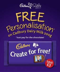 Free personalisation on Cadbury Dairy Milk 200g bar £5.50 @ Cadbury gifts direct - Delivery starting at £3.95