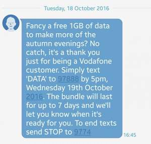 Free 1gb data on vodafone!