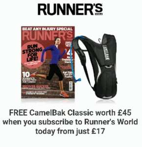 CamelBak classic worth £45 free with 6 month subscription to runners world costing £17