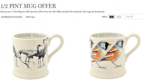 Emma Bridgewater Online - 1/2 Pint Mug Offer 2 for £30, 3 for £40, 4 for £50