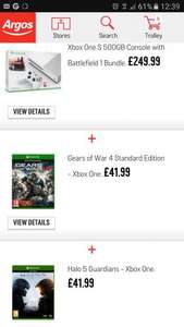 Xbox One S 500gb Battlefield 1 with Gears of War 4 and Halo 5 £269.99 @ Argos