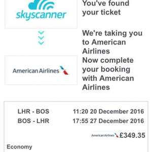 LHR - BOS round trip - Christmas week - £349.35 - American Airlines