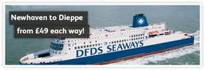 DFDS Cheap Newhaven Dieppe Ferry Tickets 2017 from £49 Each Way Car+2 Over 60's extra 20%OFF