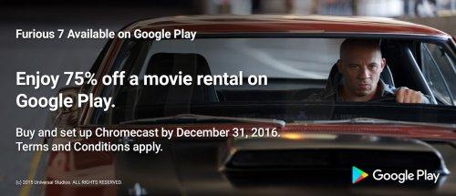 75% off Movie or TV Rental @ Google Play via Chromecast Offers