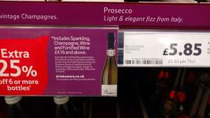 Six bottles of Bella Cucina prosecco for £4.39 each when buying 6 at Tesco in store £26.32 Total