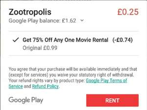 Rent Zootropolis for £0.25 from Play store (or 75% off any rental)