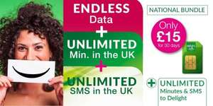 sim only deal £15 endless data & unlimited mins/txt @ Delight mobile